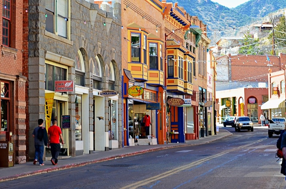 This is the main street of the art district at Bisbee, Arizona