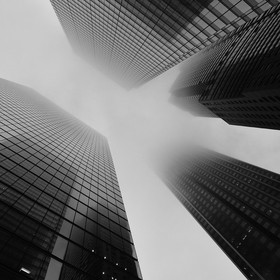 Looking up at a foggy sky in Toronto's business district.