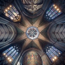 Look-up of the 100ft central tower inside Ely Cathedral, UK