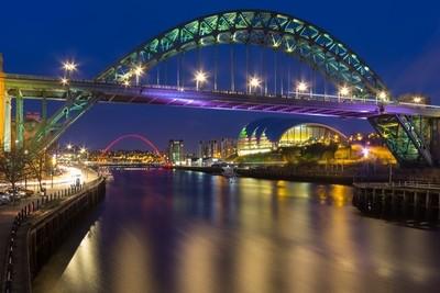 Newcastle Bridges At Dusk
