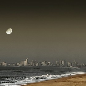 Early morning fishermen on Beachwood Beach, Durban South Africa