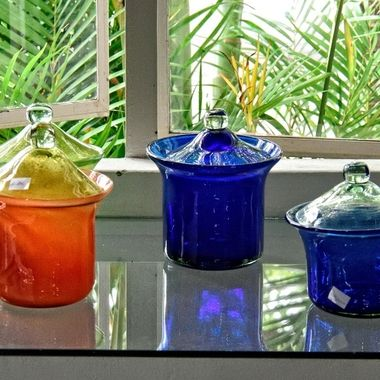 Lidded Jars - The Glass Factory, Mauritius