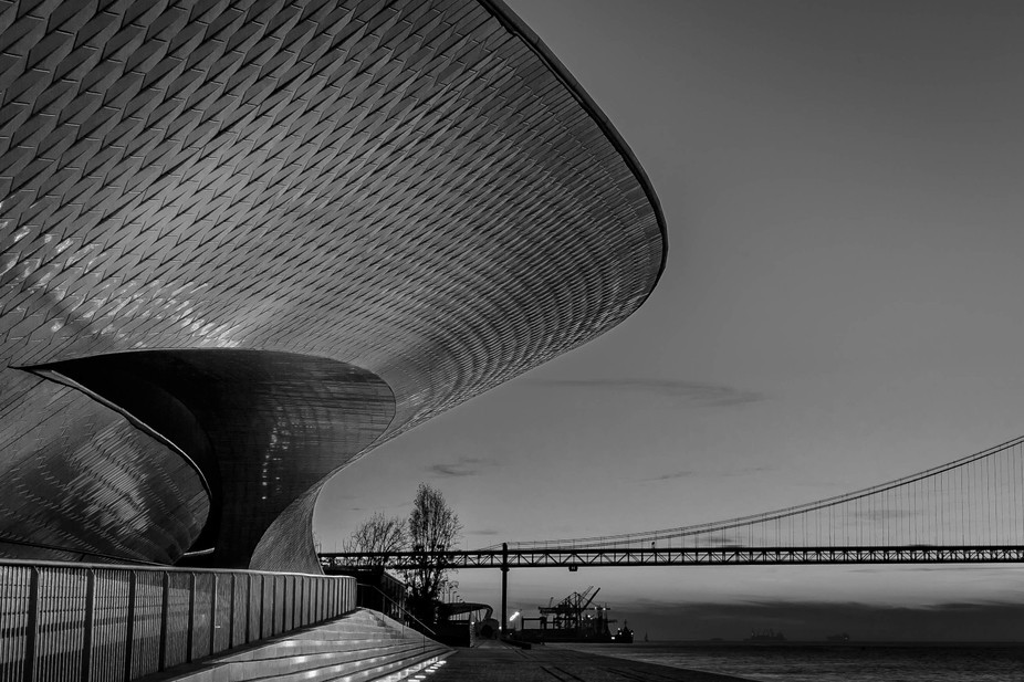 The Museum of Art, Architecture and Technology (MAAT) and the bridge, in Lisbon
