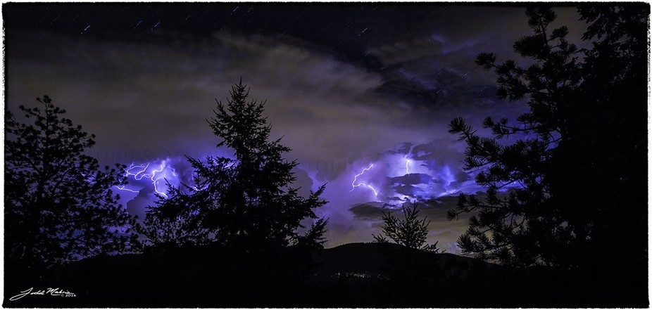 A multiple exposure of a storm that passed over Woodland Park, Colorado.