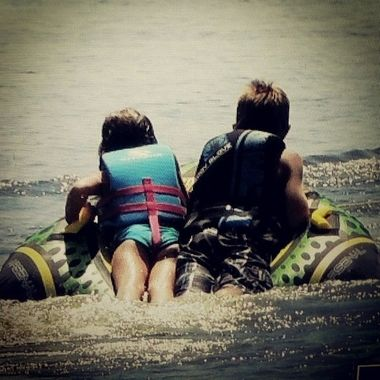 This is my nephew and my youngest tubing.