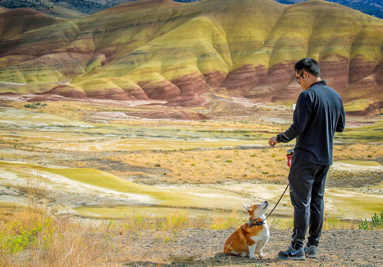 I was drawn to this scene because of the powerful story it contained. A young man with his best friend enjoying life together. They are both out enjoying the beauty of nature at the Painted Hills in the high desert of Oregon.