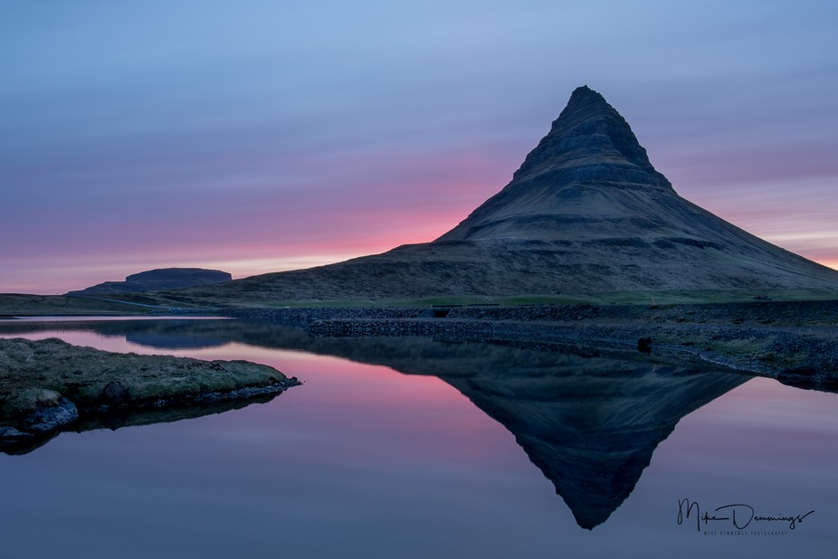 Well past midnight, the sunsets in Iceland will last all night in the summer. This is Kirkjufell ...