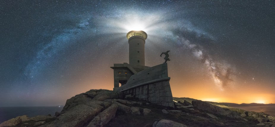 In northwest Spain there is a lighthouse that has the shape of a ship and in starry nights seems ...