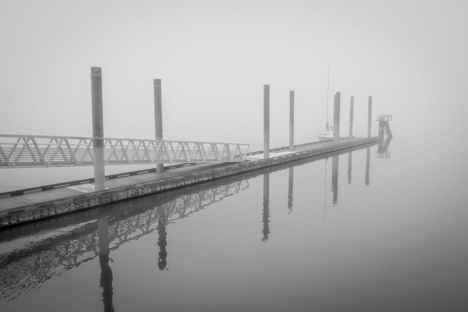 #boat, dock, #fog, gray, pier, water