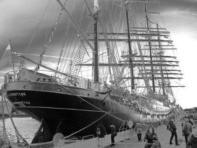 Four-masted bark Kruzenshtern in St. Petersburg