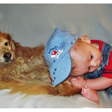 My mom's dog and my youngest son of three boys.