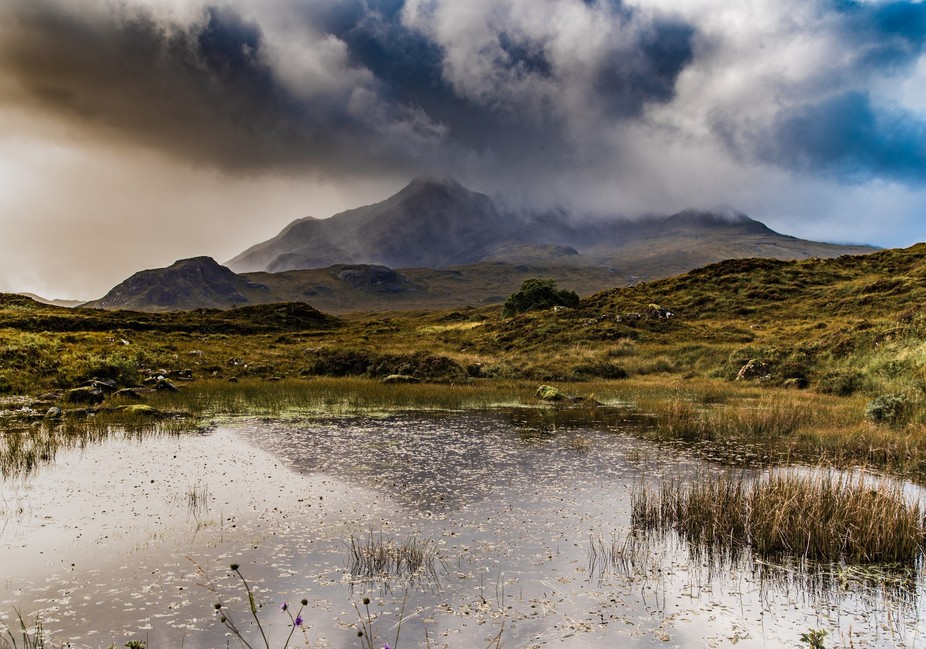 A well photographed, but beautiful location. looking toward the Cuillan mountains from Sligachan ...