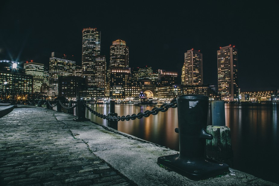 Long Exposure shot of Boston, MA, in night time :)