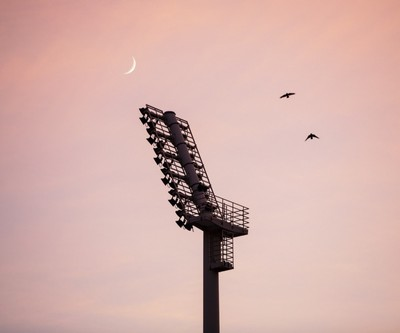 The sunset , the moon, the lamppost  and the crows...