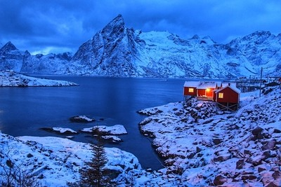 Beautiful night shot at Hamnøy, Lofoten Islands.