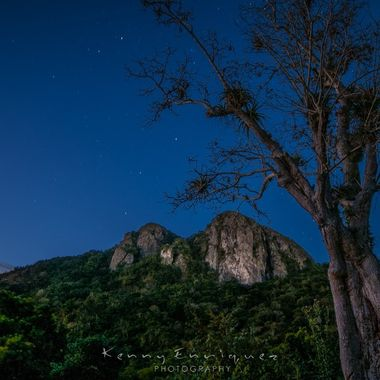 """Twin peek's Cayey, Puerto Rico, I was able to get to the top of the left peek, As we came down we stopped at this spot to take some long exposure shots, Lucky for me I stopped right next to this tree that I couldn't even see when I parked it was so dark, The peek's are called """"Las Tetas De Cayey"""" and the bright planet on the left is Saturn, You could see the shadow of the ring, That was to my surprise when I saw what I captured if I'm right?"""