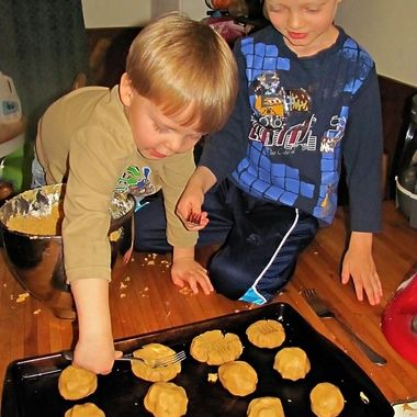 My oldest two boys helping make cookies.