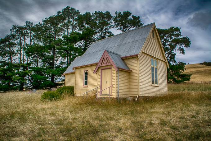A long the old back roads you often find forgotten churches in country Tasmania.