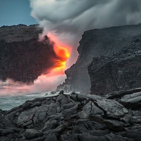 Lava entering the Pacific Ocean in  Kalapana Hawaii