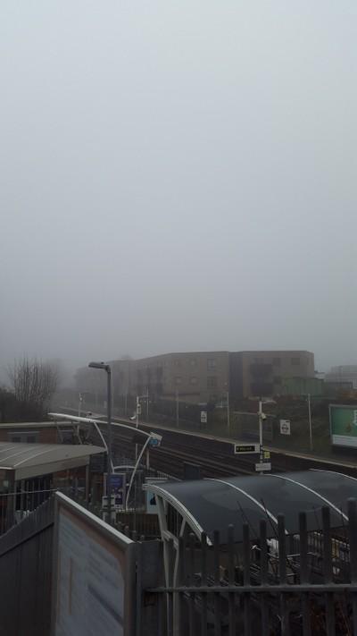 Brockley station through fog