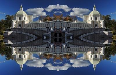 The wing of the Big Menshikov Palace at Oranienbaum, Lomonosov, Saint Petersburg. Series - Reflection.