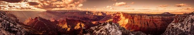 Winter Sunset of Grand Canyon National Park Pano 3
