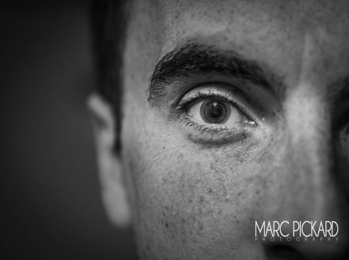 Eye lens-2 by marcpickard - Selfies In Black and White Photo Contest