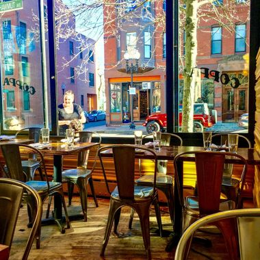 Friday noon time , first hours of spring feeling at south end Boston, willing to get a coffee at Coppa on Shawmut street...