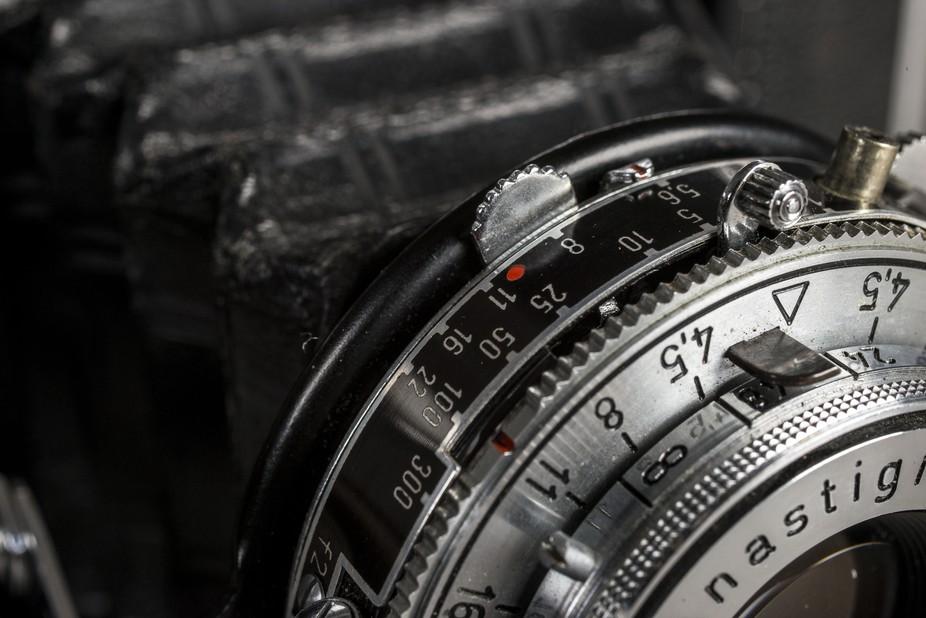 A macro detail shot of my Zeiss Ikon medium format camera.