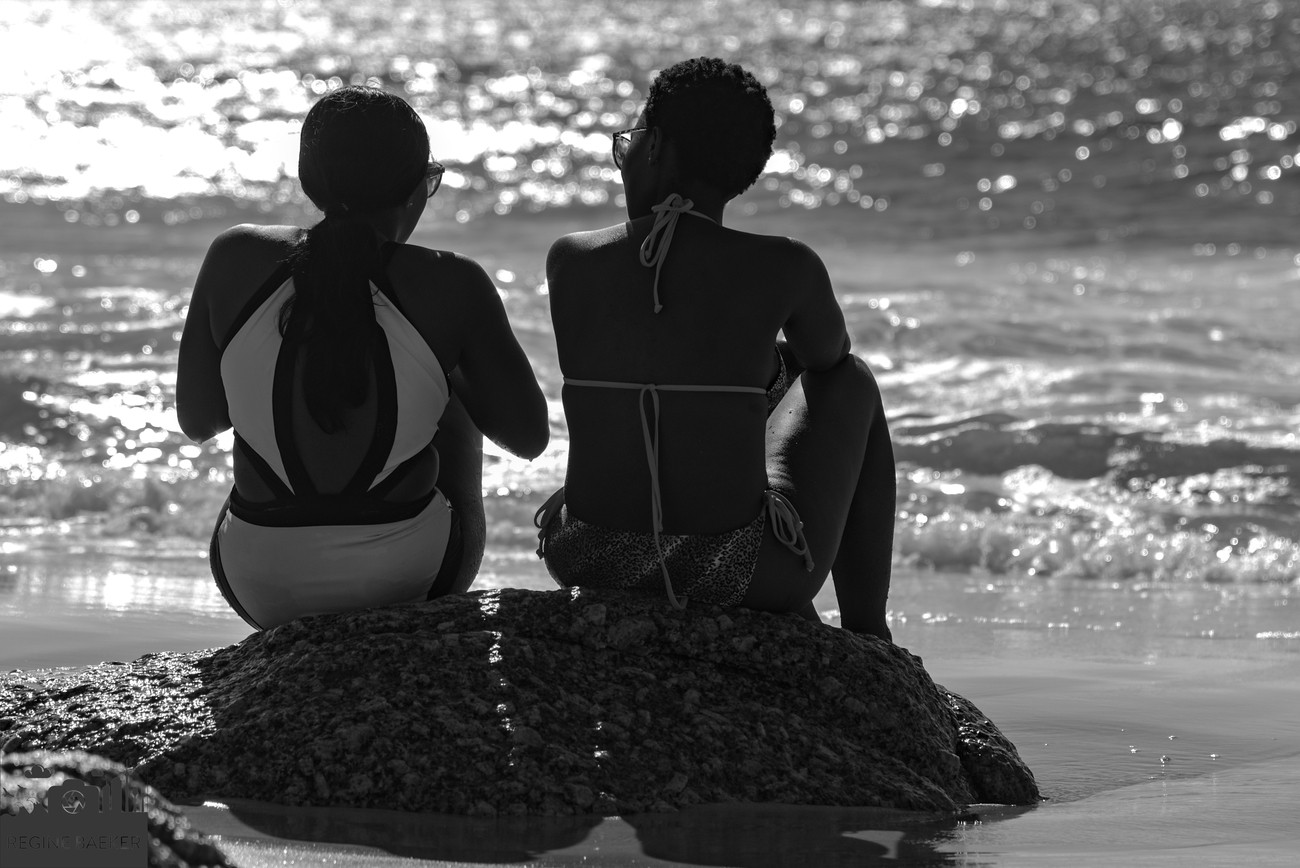I saw this couple at Clifton beach in Capetown and all Africans are so nice, that you can make pictures of them (I asked before)-black and white -it must be-there is more contrast