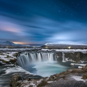 Godafoss waterfalls by moonlight, Iceland. February 2017. Nikon D810  14-24mm lens f8   313 seconds ISO 100.