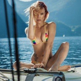 Miri in a BIkini from A.S.S. a swiss string on a sailing ship at the lake Traunsee in Upper Austria...
