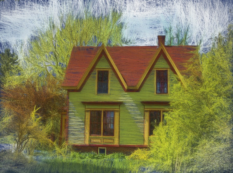 An artistic impression of an abandoned house once belonging to an artist