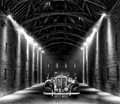 Classic car in a barn