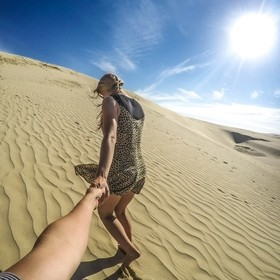 Taken with a GoPro Hero4 Black Being led up the dunes on a late summer afternoon