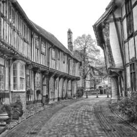 Alcester is a beautiful town, 7 miles from Stratford-upon-Avon.  This street, Malt Mill Lane, is perfect for black and white!