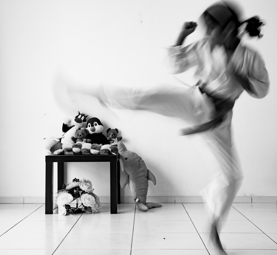 Toys put to rest .My nine year old during  her martial arts practice sessions