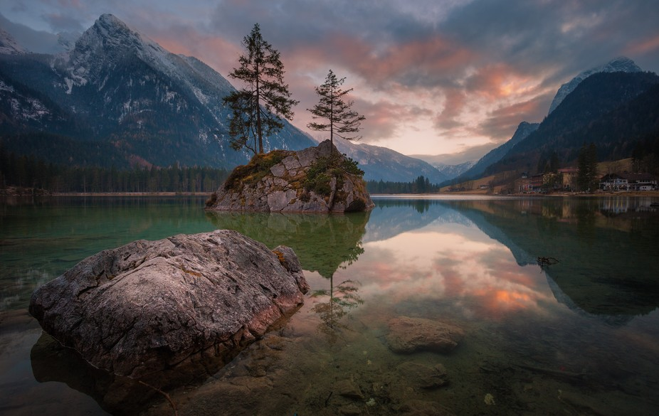 Sunset at lake Hintersee (Bavaria/Germany).