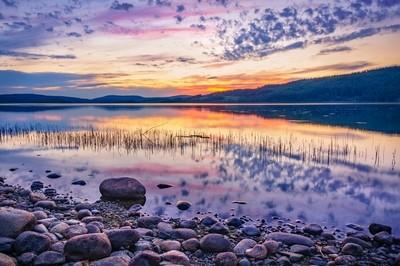 White night sunset on a Swedish lake