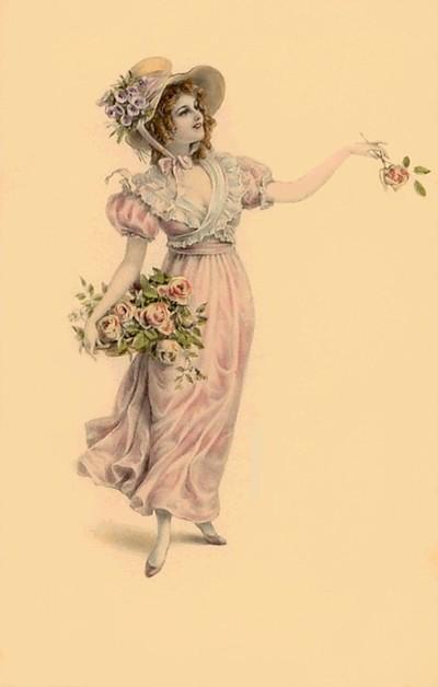Pretty Lady With Flower Basket.
