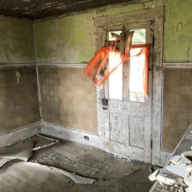Kitchen Door Orange Curtain
