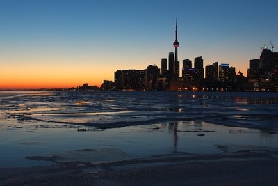 Toronto winter harbour after sunset