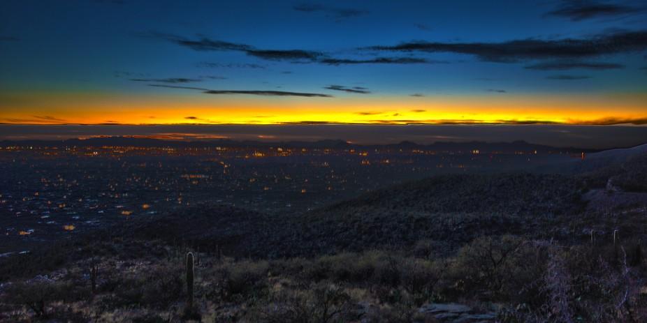 An HDR enhanced dusk sky over Tucson, Arizona