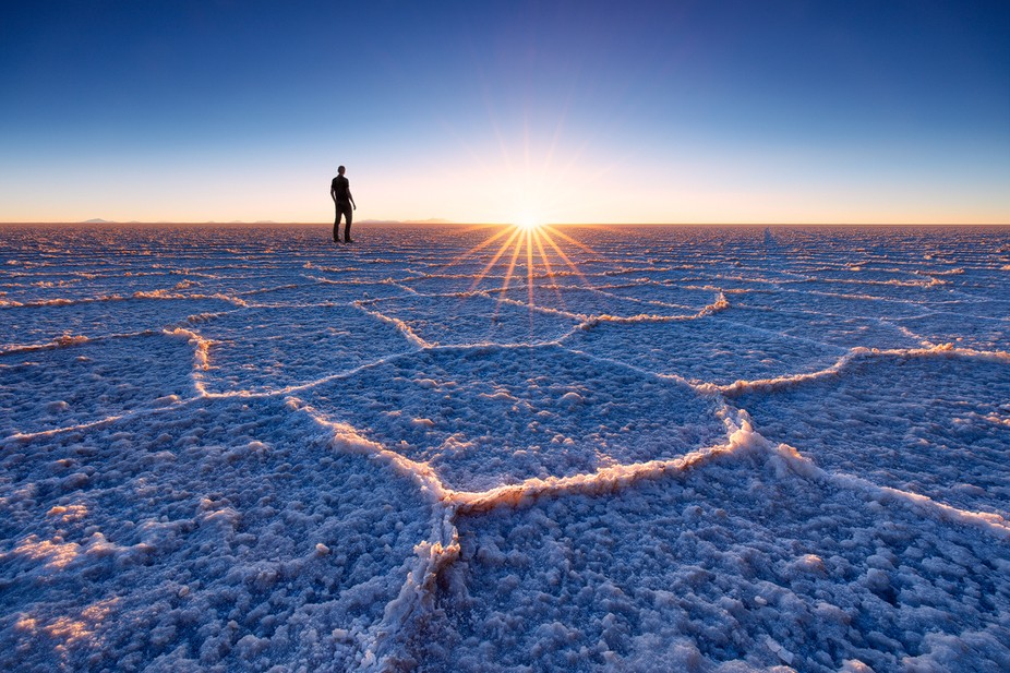 Standing on the endless saltflats of Salar de Uyuni makes you feel so small. There were no other ...