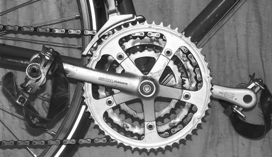 The crankset on my vintage Trek road bike.