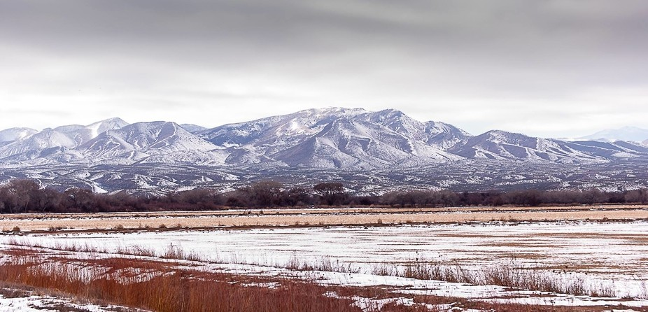 These are the mountains down near Bosque del Apache in San Antonio, New Mexico. I took this photo...
