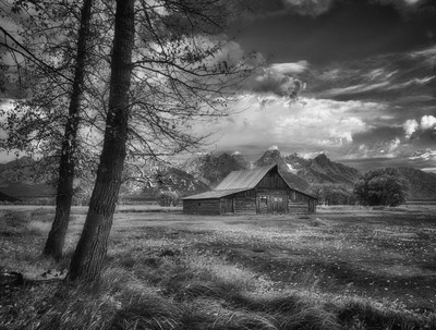 Iconic Barn in  Black and White