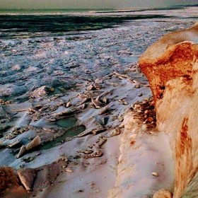 Icy Shore and an Alaskan Sunset