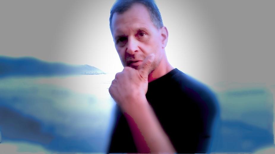 A photo shot of my man at the beach.