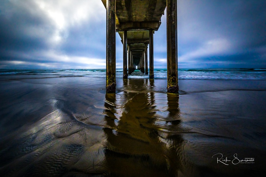Blue hour image of the Scripps Pier using an ultra wide angle lens